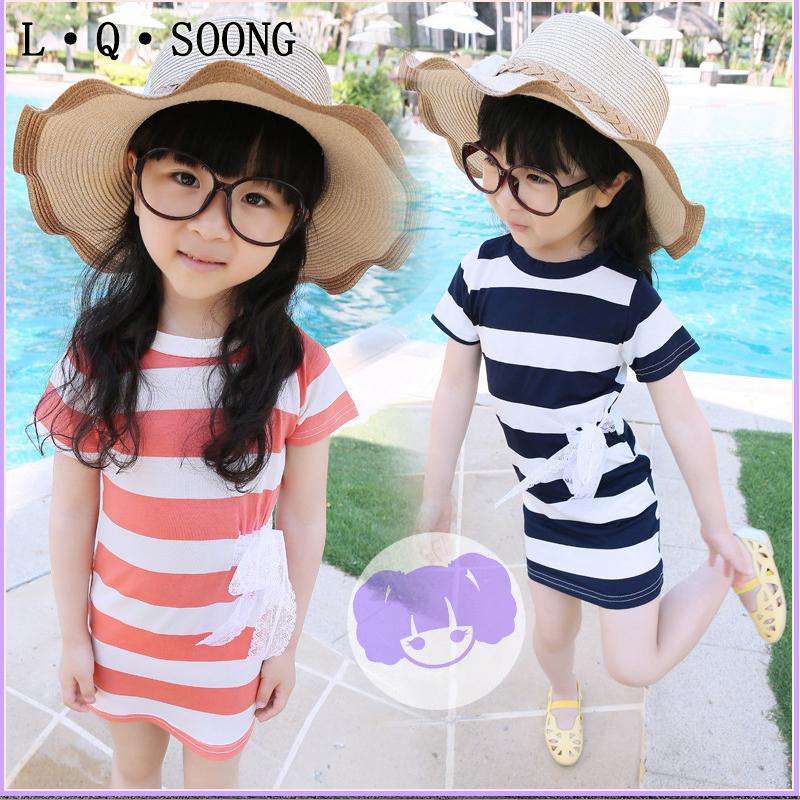 L Q SOONG brands NEW 2016 Casual bowknot toddler Girl Dress Stripes Dress for girls Cotton Kids Summer Dress sundress(China (Mainland))