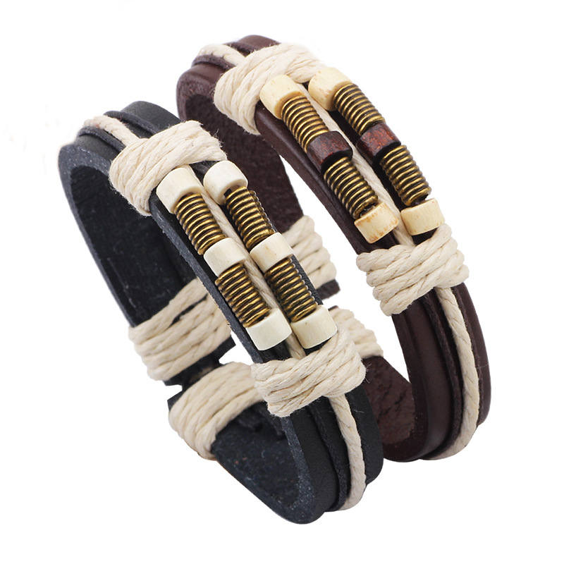 2016 Personalized Wood Beads Leather Bracelets hand made Weave Bracelets & Bangles For Men Women European and American Jewelry(China (Mainland))