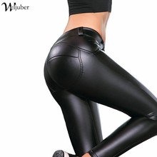 2017 Women Shaping Hip Thickened PU Leggings Skinny Pants freddy Edition High Elastic Black Leather Warm Pants Low Waist High(China (Mainland))
