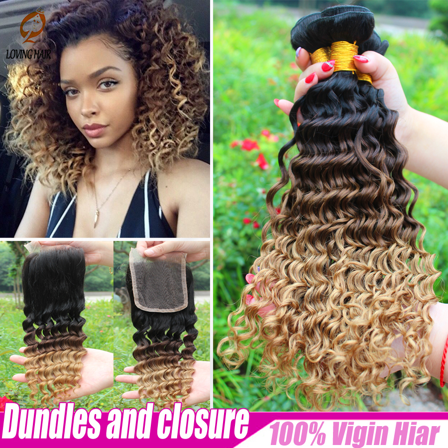 Гаджет  2015 New Brazilian virgin hair with closure 3 Bundles With a lace closure,Cheapest Ombre Brazillian curly hair extension bundles None Волосы и аксессуары