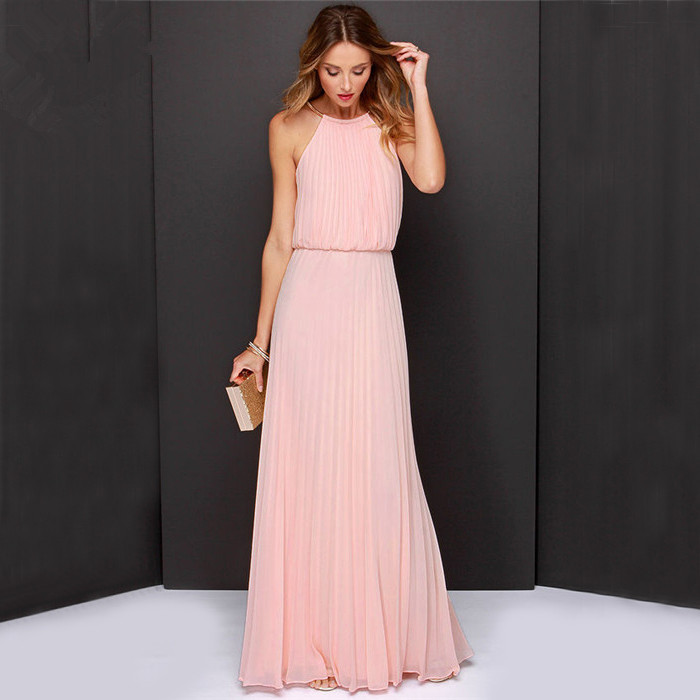 party women long dresses Clothes 2015 Solid Pink sky blue slim Sleeveless plus size Backless Fashion summer Maxi Dress hot sale(China (Mainland))