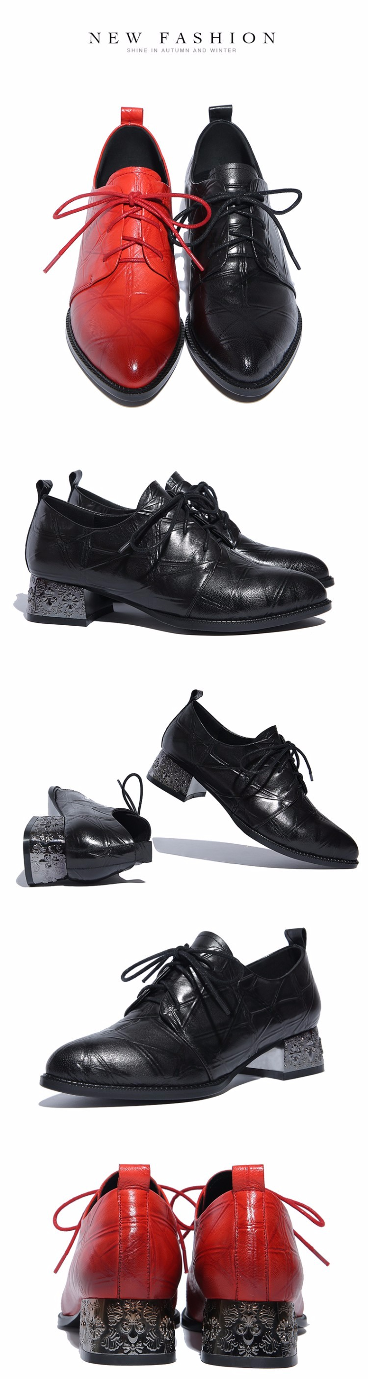 Genuine leather Flat Oxford Shoes pointed toe Woman Flats Lace-up 2017 Fashion British style Brogue Oxford women shoes moccasins