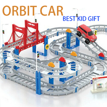 Hot sale Gift Package kid orbit car 3D Two-layer Spiral Track Roller Coaster Toy Electric Rail Car for Child Gift Free Shipping(China (Mainland))