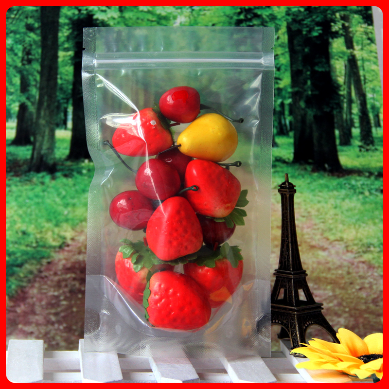 100pcs/lot 16cm*24cm+3cm Bottom* 160mic Clear Resealable Stand Up Plastic Bags Recycled Bag With Zipper Wholesale(China (Mainland))