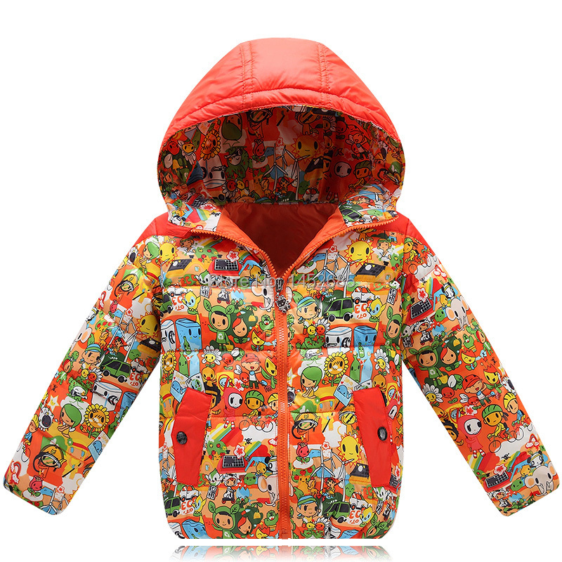 2015 cartoon print graffiti children coat winter jacket for girls boys casual jacket casaco children outerwear chilren clothing(China (Mainland))