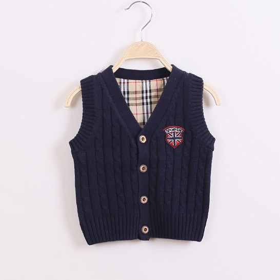 Spring and autumn baby boy cotton sweater knit sweater vest children baby cardigan sweater vest Kids baby computer Knitted()