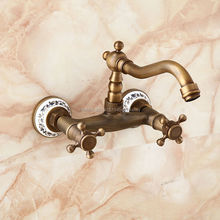 Free Shipping Euro Design Antique Brass with ceramic Wall Mount Kitchen Faucet Mixer Swivel Spout Hot Cold Water tap GI105(China (Mainland))