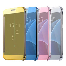 Buy Clear Window Mirror Leather Case Cover Samsung Galaxy A3 A5 A7 2016 A510 A310 A710 A5 A7 A8 S6 S7 Edge Note 5 Coque Fundas for $6.45 in AliExpress store