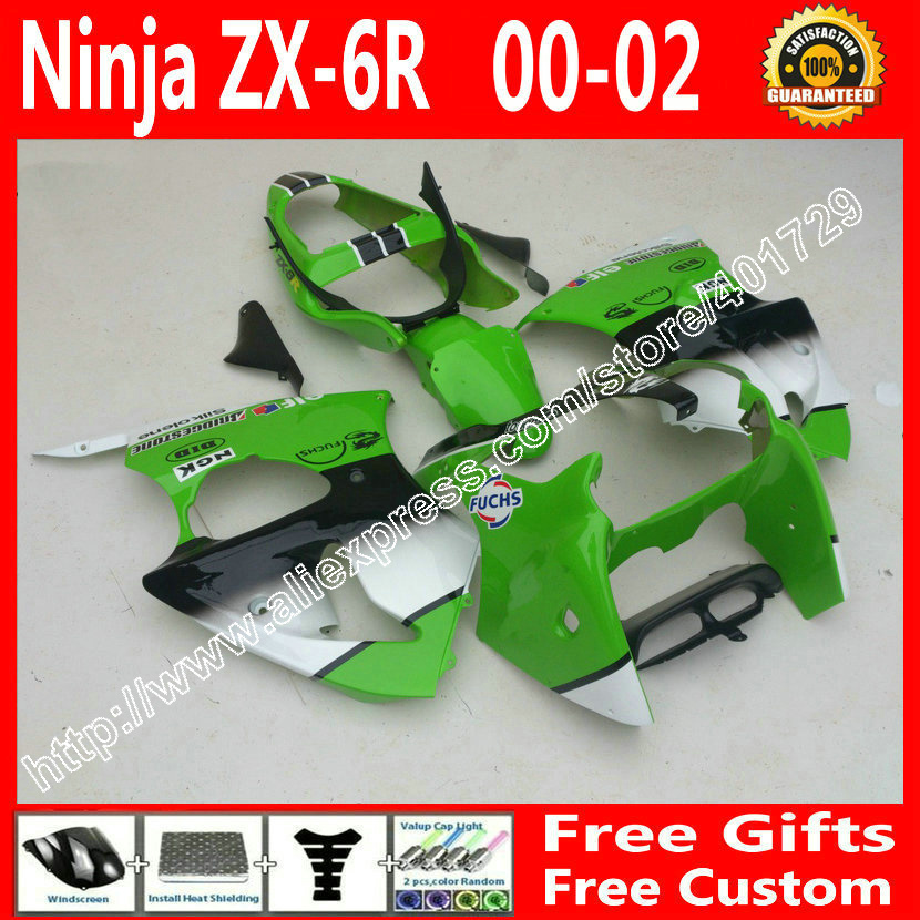 brend new Fairings for2000 2001 2002 Kawasaki ZX6R 636 parts 00 01 02 green black white fairing kit AF94(China (Mainland))