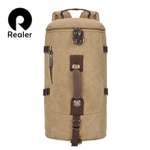 Men large capacity travel bags backpack Vintage canvas backpack Satchel school Rucksack bucket bag(China (Mainland))