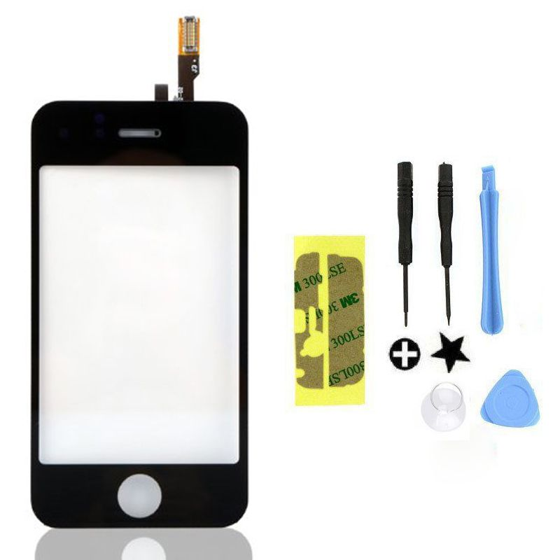 New Black Replace Front Lens Touch Screen Glass Digitizer & Free tools adhesive for iPhone 3 3g BB2030