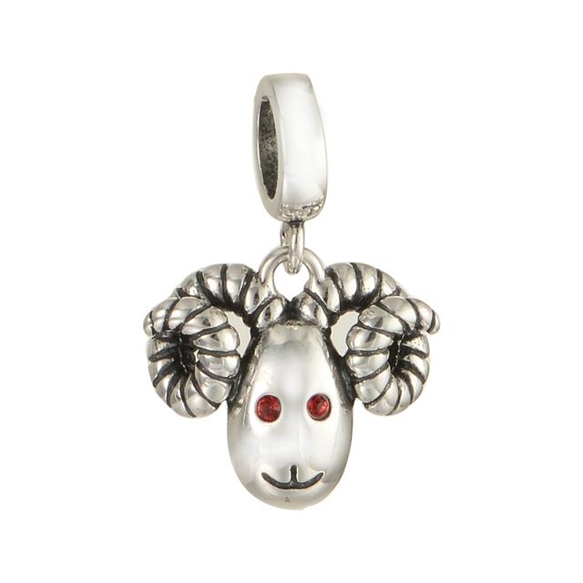 100% 925 - серебристо-ювелирные бусины улыбка овцы красного глаза Fit пандора Chamilia браслеты серебро 925 DIY