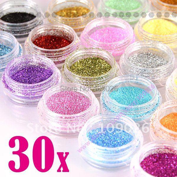Free Shipping 30 Color Glitter Acrylic Powder Dust For Nail Art Beauty(China (Mainland))