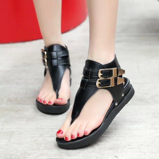 Brand 2015 Women Flip Flops Sandals Gladiator Shoes Platform Open Toe Casual Buckle Sandalias Femininas Black - Qingdao famous brand discount store