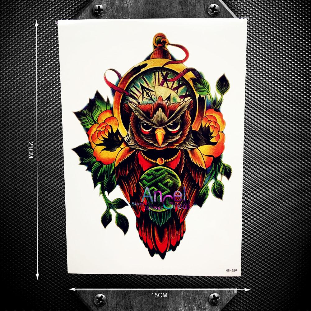 Clock Owl Designs Men Body Art Painting Tattoo Totem Armband Wall Sticker 21x15CM Women Sexy Products Tattoo Owl Xmas Gifts(China (Mainland))