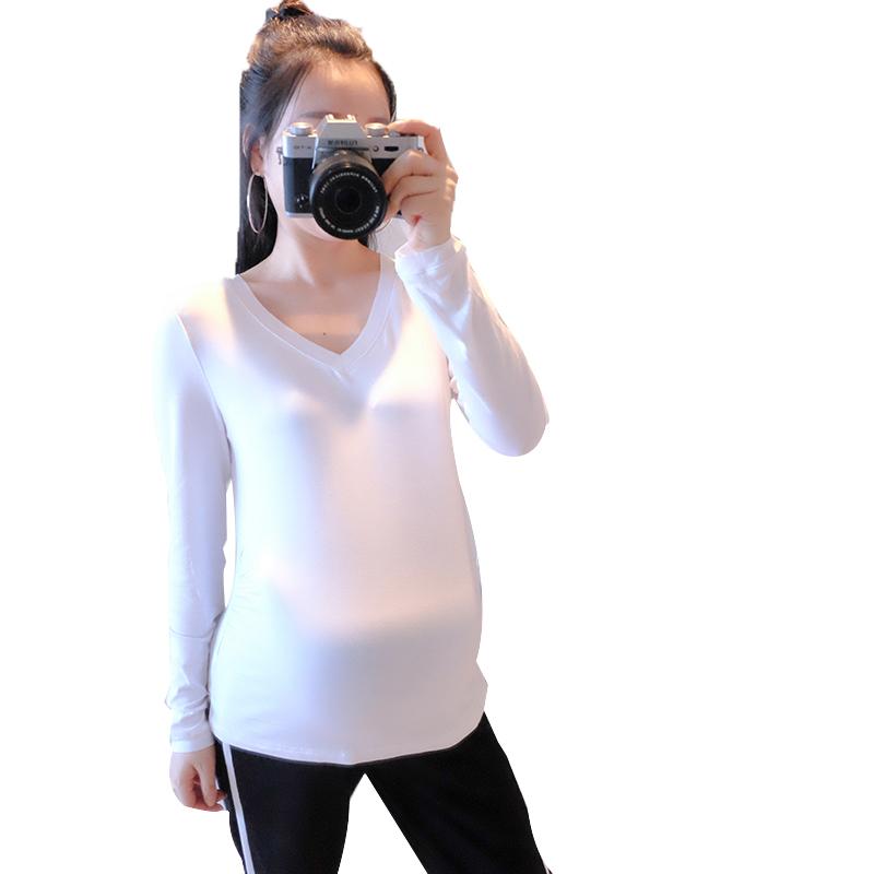 Hot 2016 new t-shirt autumn V-neck long-sleeve slim elastic maternity clothing 100% cotton o-neck all-match Free shipping(China (Mainland))