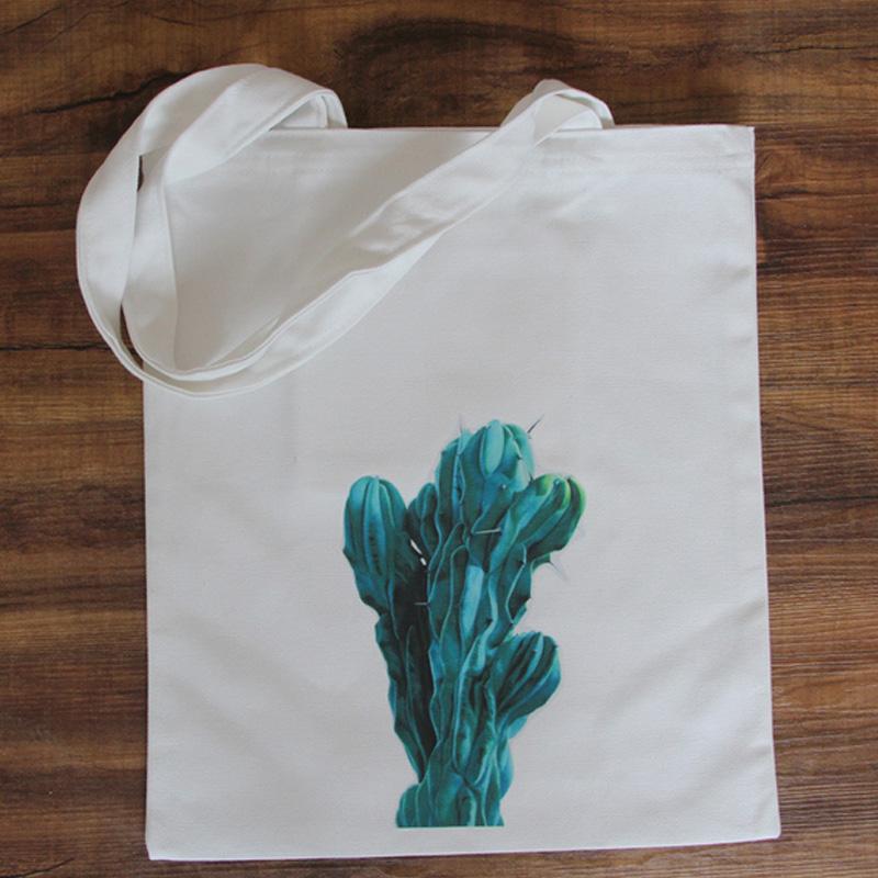 2015 New bags handbags women famous brands Cute cactus succulent plants printed bag Ladies Woman Canvan Casual Shoulder Tote Bag(China (Mainland))