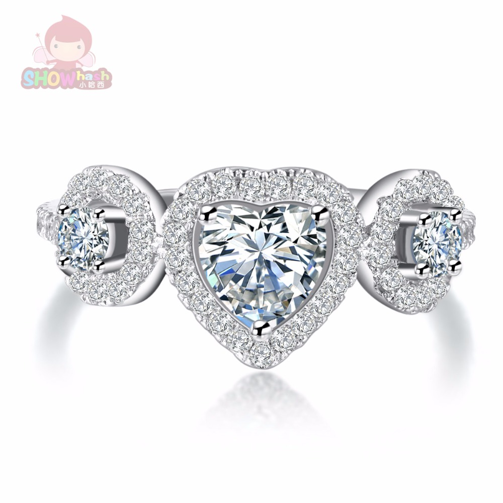 Special design three heart shape zircon tin alloy trendy fashion style female rings set for women engagement shining SHAC571(China (Mainland))