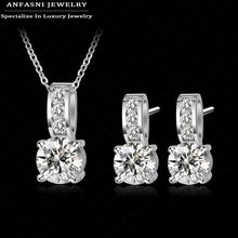 Shiny Fashion Large Discount Wedding Jewelry Set Platinum Plated AAA Zirconia Set Earring/Necklace Set For Women CST0002-B(China (Mainland))