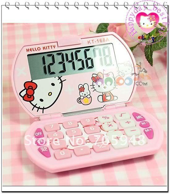 9x5.5cm sanrio Hello kitty hellokitty XMAS gift pocket electronic digital basic calculator sanrio stationery pink white(China (Mainland))
