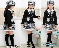 Free Shipping Baby Girl Kids Children Toddlers Infants Cap Hat+Top+Skirt Bowknot Coat Dress Set Suit Outfit Clothes 1-6 Years