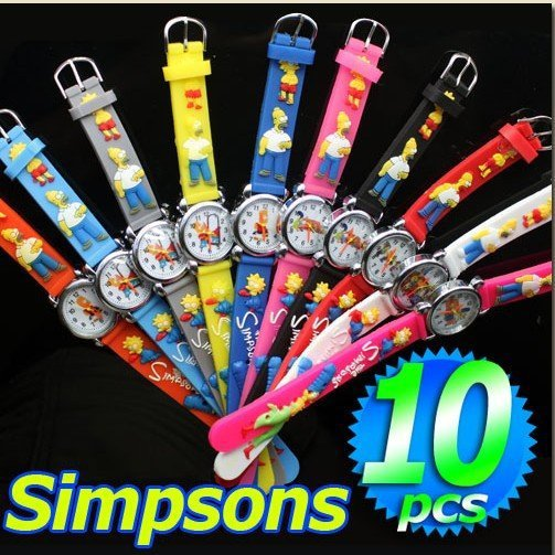 free shipping DHL 140pcs/lot Wholesale NEW Cartoon 3D Children Watch Good Gift for kids watch The simpsons wristwatch<br><br>Aliexpress