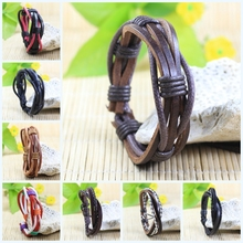 SF24-Free shipping(5pcs/lot) wholesale fashionable handmade wrap braided genuine leather bracelet with Hemp rope for man