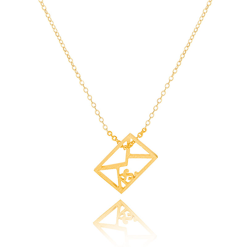 2016 Gold Silver Body Chains Jewelry Stainless Steel Antique Square Post Office Envelope Maxi Necklace for Postman Daily Gift(China (Mainland))