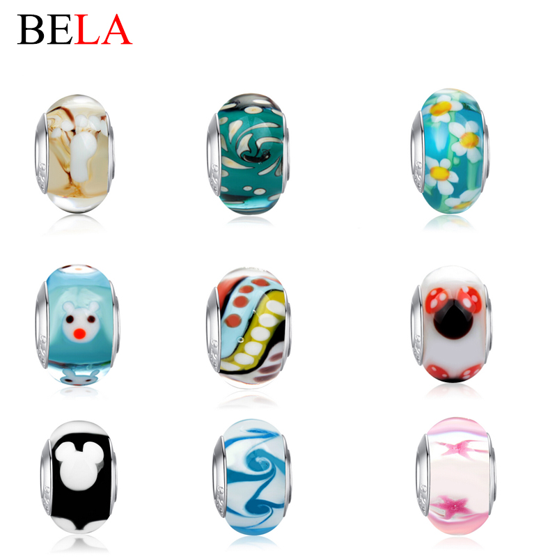 Original Jewelry European Spacer Silver Charms Murano Glass Beads Fit Pandora Bracelet Necklace Pendant Authentic Accessories(China (Mainland))