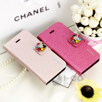 latest case for iphone5 silk leather diamond phone shell protective sleeve Wholesale