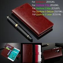 Leather Phone Case For ASUS Zenfone 3 ZE552KL/ Lite ZE520KL/ Max ZC520TL/ Deluxe ZS570KL/ Laser ZC551KL 5.2'' Flip Cover Wallet(China (Mainland))