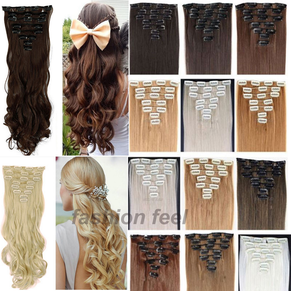 8pcs/Set 24 Curly/Wavy Full Head Clip in Hair Extensions Black Brown Blonde Long<br><br>Aliexpress
