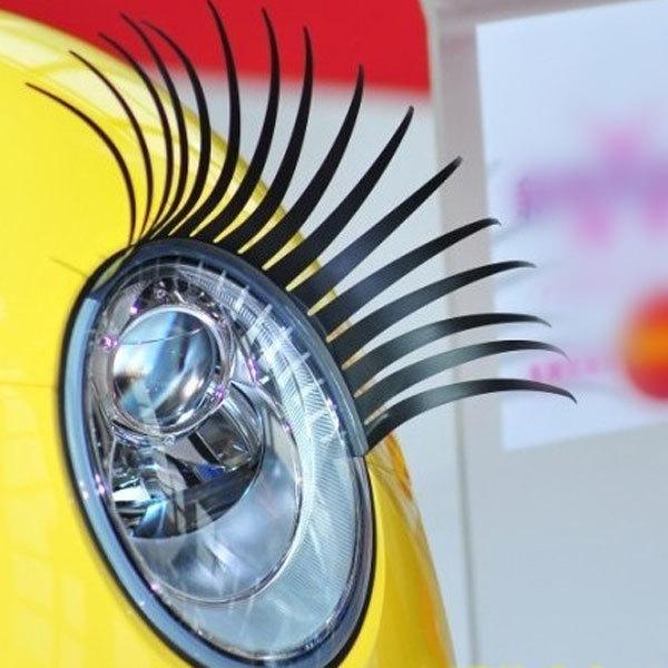 Fashion Car Styling Decal Black Eyelashes Vehicle Car Headlight Decorative Sticker (Pair)(China (Mainland))