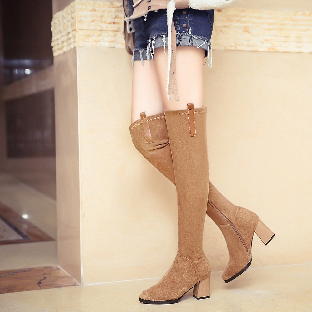 Plus Size Women's Winter Genuine Leather Over The Knee Boots Brand Designer Thick High Heel Comfortable Tall Boots Shoes Women