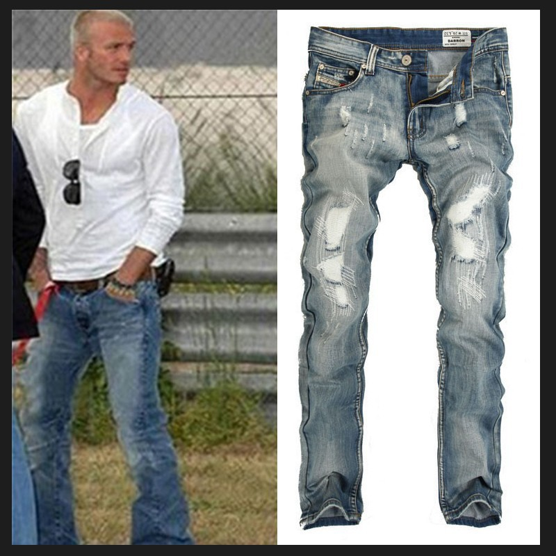 New 2015 Famous Brand Men's Ripped Cheap Jeans Fashion Designer Straight Large Size Jeans Denim Pants Perfume Men's Jeans(China (Mainland))