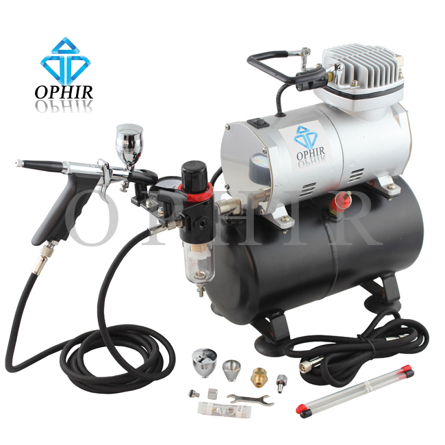 OPHIR Airbrush Kit 0.3mm 0.5mm 0.8mm Touch-Up Auto Paint Air Compressor Tank Spray Gun for Hobby Model Cake Paint_AC090+AC069(China (Mainland))