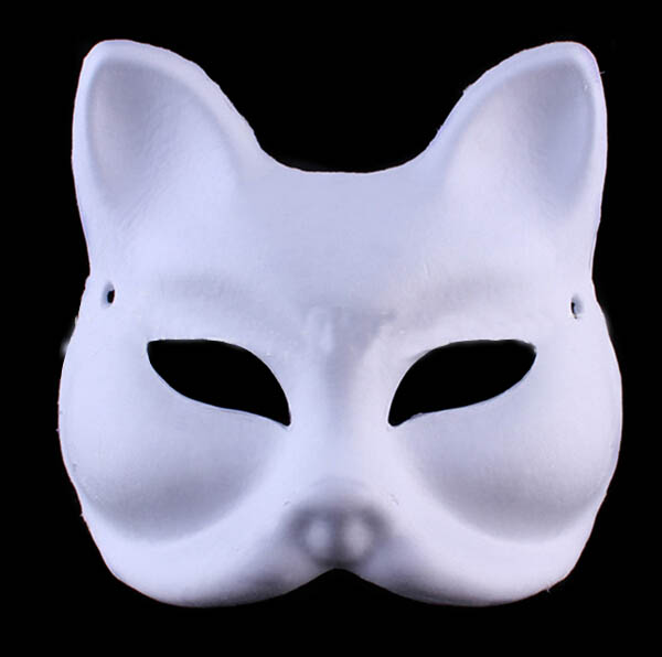 2016NEW Party Fox Mask Adult Children Masquerade Party Upper Half Face Paper Pulp Blank Mask DIY Fine Art Painting Masks(China (Mainland))