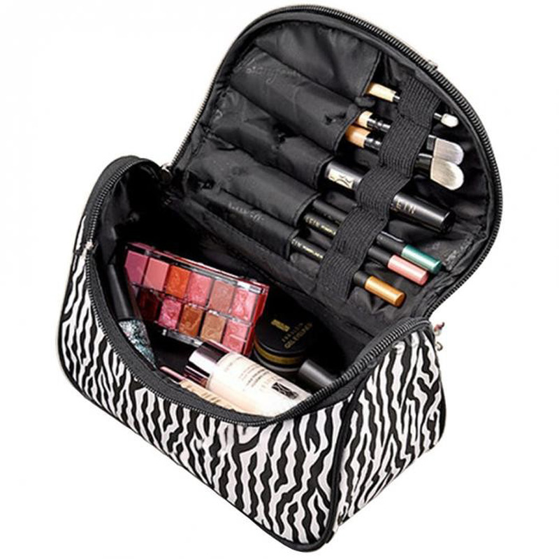 EIFFTER New Fashion Portable Waterproof Women Makeup Bag Make Up Storage Organizer Box Beauty Case Travel Pouch Zebra DJ00045(China (Mainland))