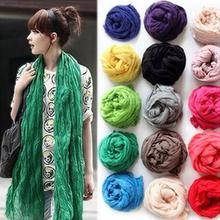 Fashion New Korean Version Fall Winter Women Scarves Cotton Fold Design Widened Lengthened Wild 24 Colors scarf Free shipping(China (Mainland))
