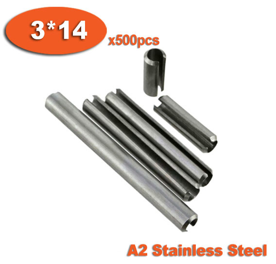 500pcs DIN1481 3 x 14 A2 Stainless Steel Slotted Spring Pins<br><br>Aliexpress