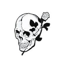 Buio Scheletro Gotico rosa ali di farfalla Half skull mezza volto di donna spilla Scheletro libro crow Coltello in bocca distintivo(China)
