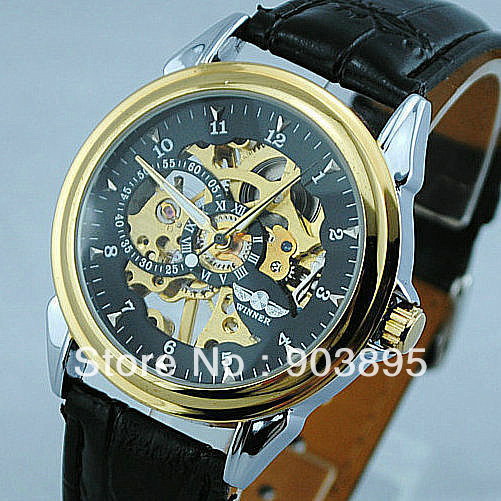 men men's military hand wind mechanical skeleton watch ,cool design watches men PU leather strap(China (Mainland))