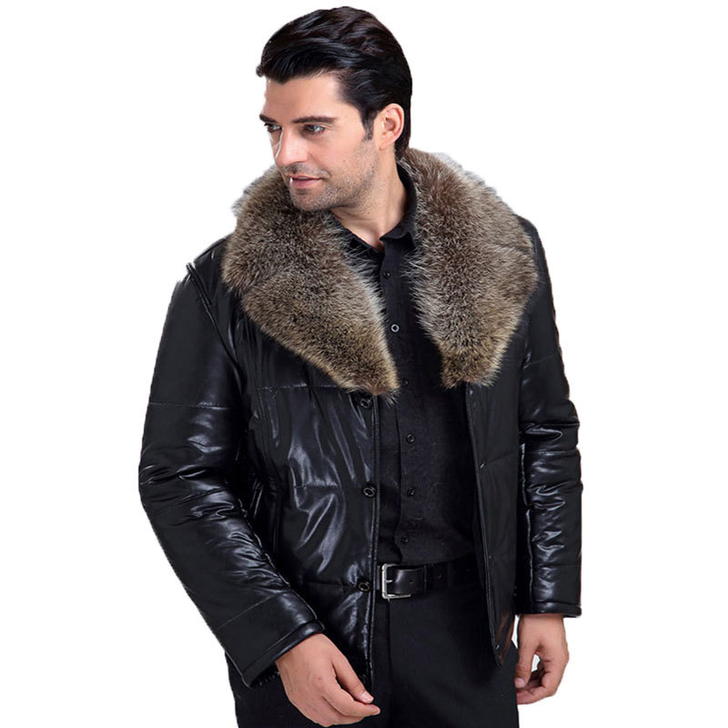 Free Shipping !  New 2014 Winter Male Fur  Collar  Windbreak Waterproof Lether Jackets Leather Coat Mens Leather JacketОдежда и ак�е��уары<br><br><br>Aliexpress