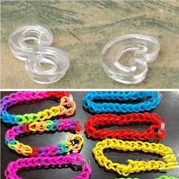 Aladdinner DIY Rubber Bracelet Loom Band Tool Plastic C or S Clips(China (Mainland))