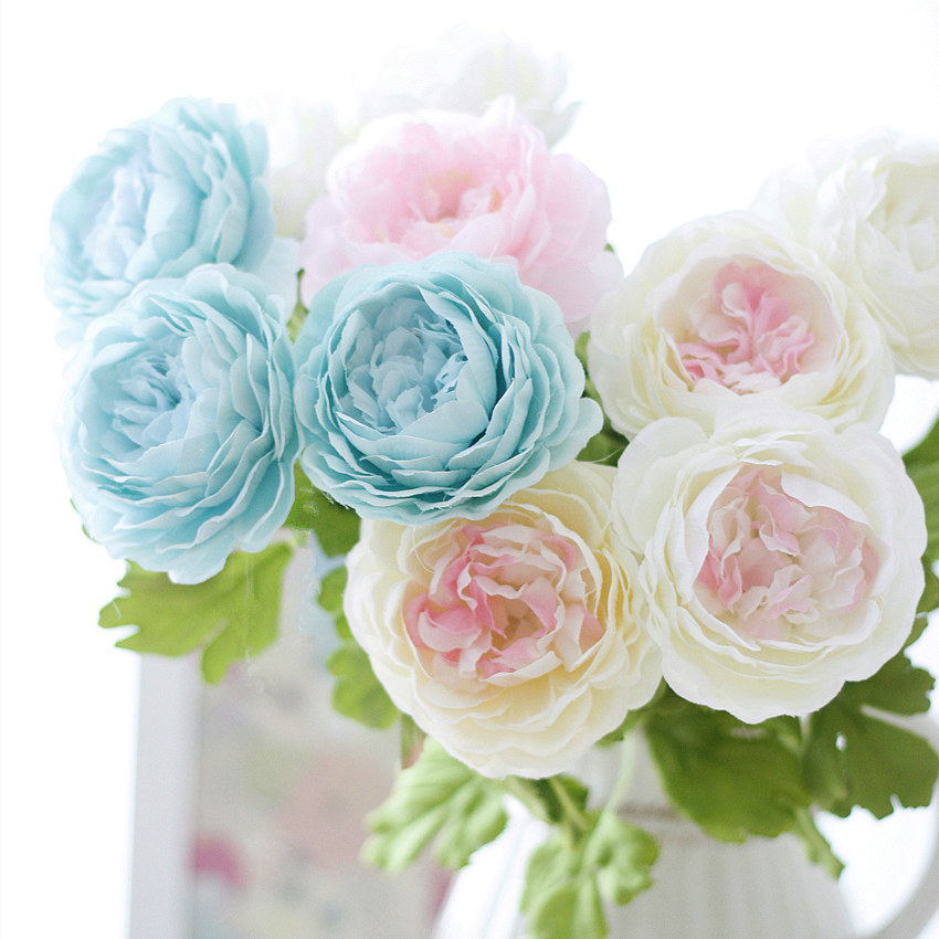 1pc Silk flower Vivid Peony Artificial Flowers Fake Leaf for Party Wedding Home Decorative 9 Colors(China (Mainland))