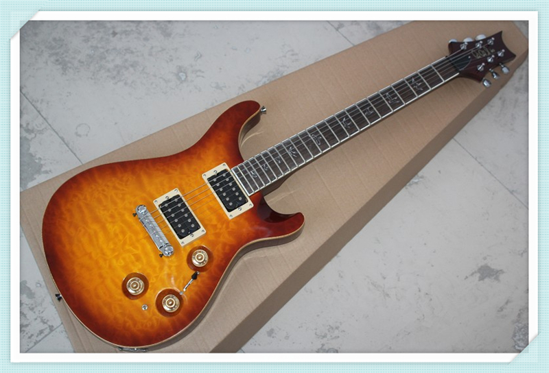 Custom Shop Chinese Cherry Sunburst PRS Custom 22 Electric Guitar Quilted Body & Kits Lefty Custom Available(China (Mainland))
