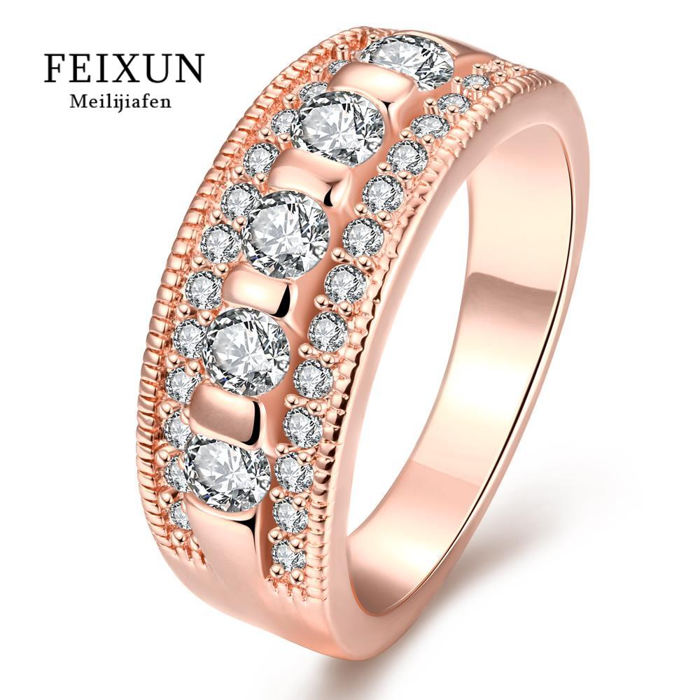 High Quality Bague Femme Ringen Voor Vrouwen Big Rings For Women Rose Gold Zircone Crystal Round Ring R318(China (Mainland))