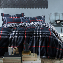 mens Plaid stripe reactive print 4pc bedding set navy 100% Cotton bedclothes king queen size Duvet/quilt covers bed sheet sets(China (Mainland))