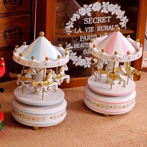 Blue Wooden Merry-Go-Round Carousel Classic Music Box Kids Children Girls Christmas Birthday Gift Toy(China (Mainland))