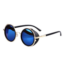 SIF Mirror Lens Round Glasses Cyber Goggles Steampunk Sunglasses Vintage Retro JAN 01(China (Mainland))